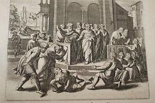 GRAVURE SUR CUIVRE ANANIE ET SAPHIRE-BIBLE 1670 LEMAISTRE DE SACY (B238)