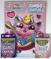RainBoCorns Sequin Surprise Jumbo Coloring & Activity Book Glitter Pearl Crayons