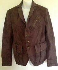 Diesel Women's Sz M Button Front Long Sleeve Brown Sun Army Camo Blazer Jacket