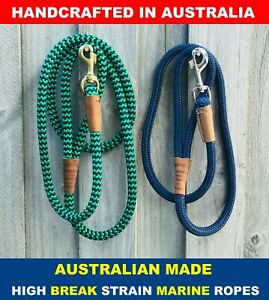 2.4m Long Dog Lead Leash Round Solid Rope Collar Harness AUSTRALIAN HANDMADE