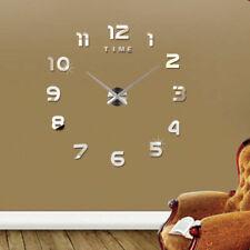 Design Wand Uhr Wohnzimmer wanduhr Spiegel Metall wandtattoo Deko XXL XL 3D DEU