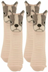 Ex-Store 2 Pairs of Ladies 3D Welt French Bulldog Socks with Sheer Stripes Pink