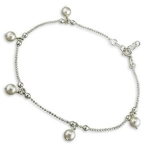 925 Sterling Silver Beautiful Pearl Drop Beads Anklet SALE