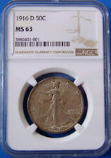 1916 D MS63 NGC Certified Walking Liberty Half Dollar Coin United States 50 Cent