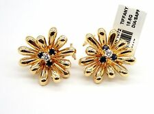 Vintage Tiffany & Co 18K Yellow Gold Diamond & Sapphire Cluster Earrings.