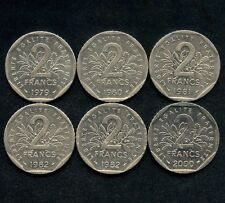 Lot Of 6 France 2 Franc Coins 1979 1980 1981 1982 1982 & 2000