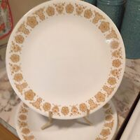 "Corelle Butterfly Gold 10 1/4"" Dinner Plates Set of Two (2) Vintage"