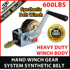 600LBS HAND WINCH GEAR SYSTEM  SYNTHETIC BELT BOAT TRAILER CAMPER  EASY MOUNT