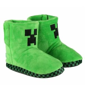 Minecraft Boys Boots, Creeper Green 3D Gaming Theme Slippers Footwear for Kids