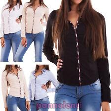 Camicia donna maglia bordo scozzese avvitata colletto bottoni basic nuova C-S072