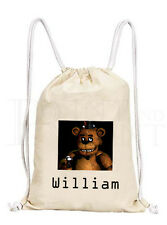 Personalised Five Nights At Freddy's FNAF Drawstring Canvas Gym/ PE Bag