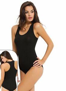 Ladies Stretch Racer Muscle Back Sleeveless Camisole Vest Bodysuit Leotard 6000