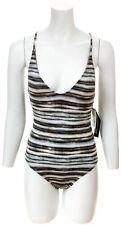 LA BLANCA Bamboo Stripe Macrame One Piece Swimsuit