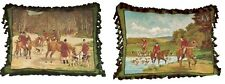 "Pair of 18""x22"" Handmade Wool Needlepoint Horse Dog Hunting Pillow with Tassels"