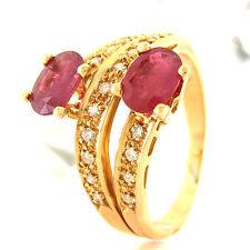Ovale Echte Edelstein-Ringe aus Gelbgold mit Rubin für Damen