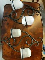 Partylite Vintage Scroll Metal Wall Sconce 2 frosted votive candle holders - EUC