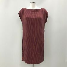 Kenneth Cole Dress UK 10 Short Sleeve Shift Style Maroon Brown Striped 032727