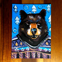 Original painting ACEO hand painted OOAK signed classic art クマ bear