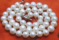 "SALE Big 8-9MM White Natural Freshwater round PEARL 17""  NECKLACE-nec5839"
