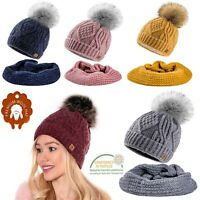 Set Scarf & Hat Women Winter Merino Wool Knitted Beanie Hat Worm Neck Fleece Pom