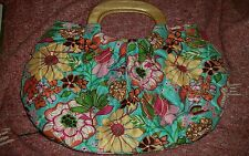 Vera Bradley Kelly Quilted BLUE Tropical Silk Wooden Handles limited edition EUC
