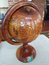 "Authentic Haitian Hand Carved Wooden Globe 15"" Tall  - from Haiti preowned"