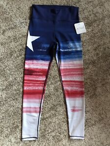 NWT Athletic Stretch Workout Leggings Yelete Sz L Patriotic Red, White & Blue