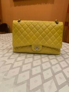 Chanel Maxi Jumbo Classic Yellow Leather Crossbody Shoulder Bag