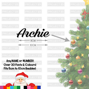 Personalised Christmas Bauble Name/Word Vinyl Decal Sticker 6 8 10CM Xmas CH01