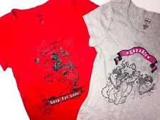 Disney T-Shirt Set Junior Girls Large  Minnie Mouse Marie Aristocats Sleepwear