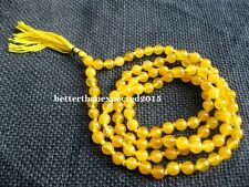 YELLOW HAKIK (AGATE) JAPA MALA (108+1) BEADS*BLESSED & ENERGIZED A GRADE QUALITY