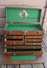 ANTIQUE VINTAGE Oak Wood 7 Drawer Union Tool Chest Machinist Tool Box