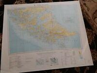 1955 Map of Tierra del Fuego Chile Argentina South America Punta Arenas