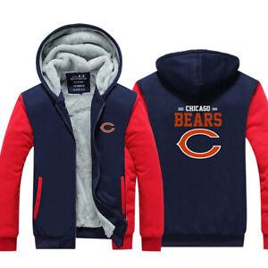 Chicago Bears Men's Hoodie Fleece Warm Sweatshirt Football Winter Zip Up Jacket