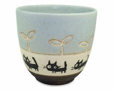 Mino ware Japanese Pottery Black Cat Pattern Yunomi Chawan Tea Cup BLUE