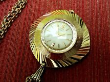 1968 TIMEX Gold Plated Aluminium Necklace Pendant Winding Watch & Chain
