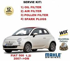 FOR FIAT 500 1.2 2007-8/2011 OIL AIR POLLEN FILTER + SPARK PLUGS SERVICE KIT