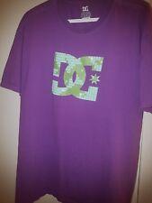 Used Men's DC SHOES Purple/Green Cotton/Poly Tagless Skater T-Shirt XL HTF 2015