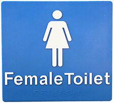 Female Braille Toilet Sign SV02E BCA Code Australian Compliance-White on Blue