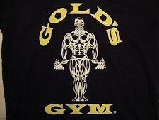 Gold's Gym Logo Body Builder Souvenir V Neck Black T Shirt Size S