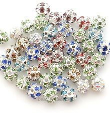 Silver Plated Spacer 20Pcs Multi-Colored Austria Crystal Charms 6/8mm Beads