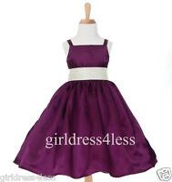 NEW PLUM/PURPLE SPAGHETTI STRAPS FLOWER GIRL DRESS GOWN 12-18M 2 4 5/6 8 10 12