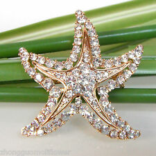 Crystal 18K Gp Pin Brooch Bh7542 Navachi Starfish Ocean Sea Stars star