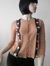 ALANNAH HILL sz 8 caramel / black lace ribbon trim long sleeve top blouse cardi
