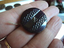 FAB ART DECO  CARVED CELLULOID  BUTTON BURGUNDY 1 INCH