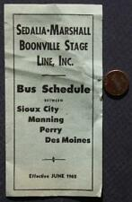 1962 Sedalia-Marshall Boonville Stage Line Bus Timetable brochure-4 Iowa Cities*