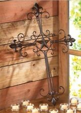 NEW RUSTIC TEXAS LONE STAR FLEUR DE LIS METAL WALL CROSS DOOR COUNTRY DECOR ART