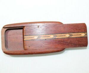 Native American Carved Wood Trinket Secret Stash Tabacco Cigarette Pocket Box