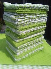 Pack of  3 x Terry tea towels cafe restaurant 100% cotton  absorbent LIME GREEN