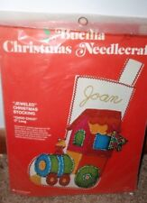 Bucilla Christmas Needlepoint Jeweled Christmas Stocking Choo Choo Train New